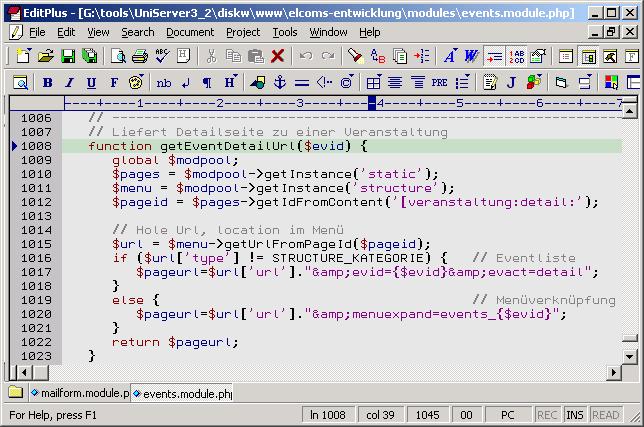 Editorfenster mit Codebeispiel
